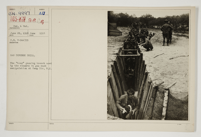 """Chemical Warfare Service - Drills - Instruction - Gas defense drill.  The """"tear"""" gassing trench used by the classes in gas mask manipulation at Camp Dix, New Jersey"""