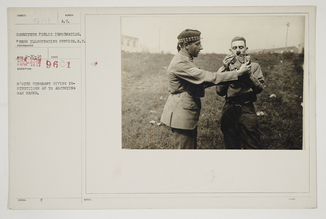Chemical Warfare Service - Drills - Instruction - Scotch Sergeant giving instructions as to adjusting gas masks