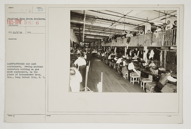 Chemical Warfare Service - Drills - Masks - Manufacturing gas mask containers.  Sewing machine operators working on gas mask containers, in the plant of Rosenwasser Bros., Inc., Long Island City, New York