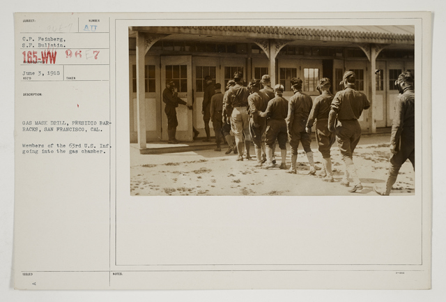 Chemical Warfare Service - Drills- Schools - Gas mask drill, Presidio Barracks, San Francisco, California.  Members of the 63rd U.S. Infantry Going into the gas chamber