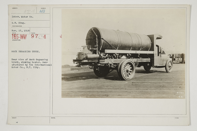 Chemical Warfare Service - Gas Poisoning - Degassing Sprayers - Mack degassing truck.  Rear view of Mack degassing truck, showing heater.  Manufactured by the International Motor Co., New York City