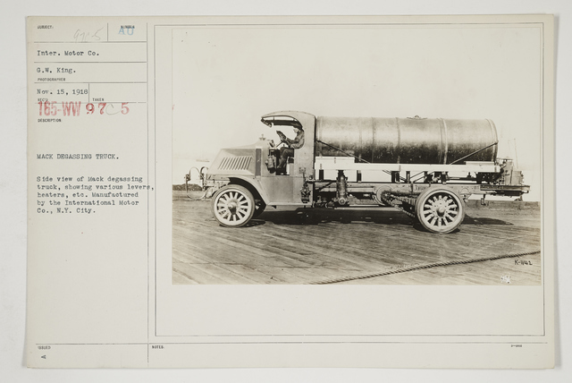 Chemical Warfare Service - Gas Poisoning - Degassing Sprayers - Mack degassing truck.  Side view of Mack degassing truck, showing various levers, heaters, etc.  Manufactured by the International Motor Co., New York City