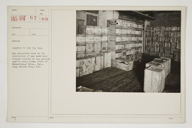 Chemical Warfare Service - Plants - Edgewood Arsenal and Others - Helping to win the war.  Raw materials used in the production of gas mask containers stored in the Government's store room, plant of Rosenwasser Bros., Inc., Long Island, New York