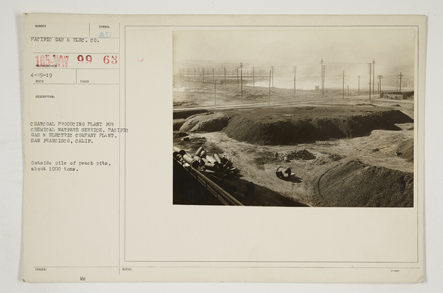 Chemical Warfare Service - Plants - Edgewood Arsenal - Charcoal producing plant for Chemical Warfare Service.  Pacific Gas & Electric Company plant, San Francisco, California.  Outside pile of peach pits, about 1000 tons