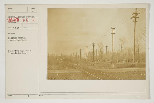 Chemical Warfare Service - Plants - Edgewood Arsenal - Edgewood Arsenal, Edgewood, Maryland.  Bush River high power transmission line