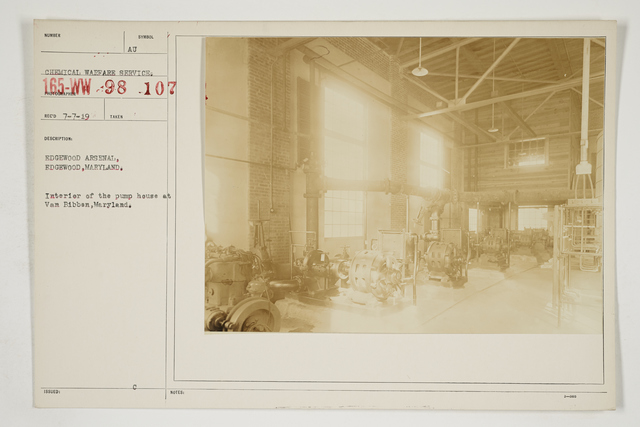 Chemical Warfare Service - Plants - Edgewood Arsenal - Edgewood Arsenal, Edgewood, Maryland.  Interior of the pump house at Van Bibben, Maryland