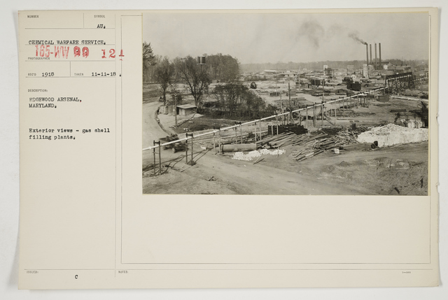 Chemical Warfare Service - Plants - Edgewood Arsenal - Edgewood Arsenal, Maryland.  Exterior view - gas shell filling plants