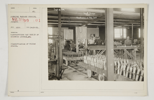 Chemical Warfare Service - Plants - Edgewood Arsenal - Manufacturing gas shells at Edgewood Arsenal, Maryland.  Classification of filled shells