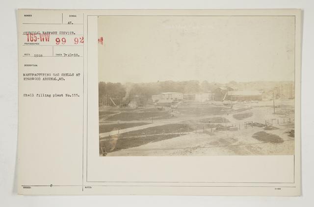 Chemical Warfare Service - Plants - Edgewood Arsenal - Manufacturing gas shells at Edgewood Arsenal, Maryland.  Shell filling plant No. 155