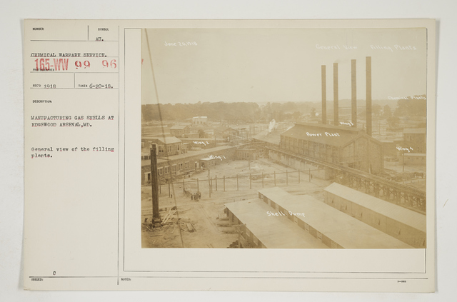 Chemical Warfare Service - Plants - Edgewood Arsenal - Manufacturing gas shells at Edgewood Arsenal, Maryland.   General view of the filling plants