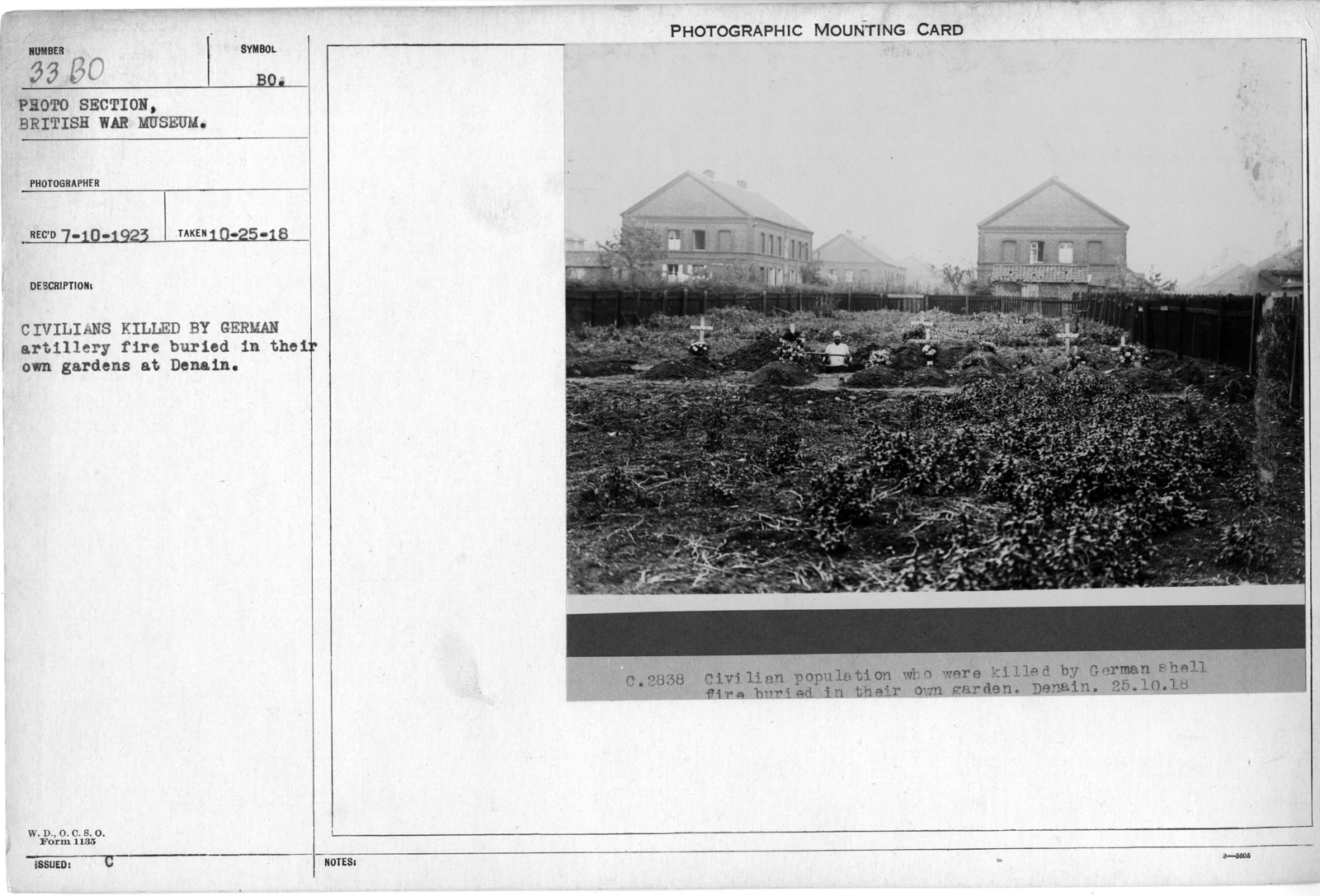 Civilians killed by German artillery fire buried in their own gardens at Denain