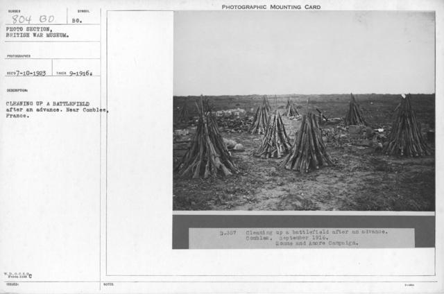 Cleaning up a battlefield after an advance. Near Combles, France. September 1916