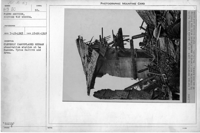 Cleverly camouflaged German observation station at La Bassee. Ypres Salient and Area; 10/24/1918