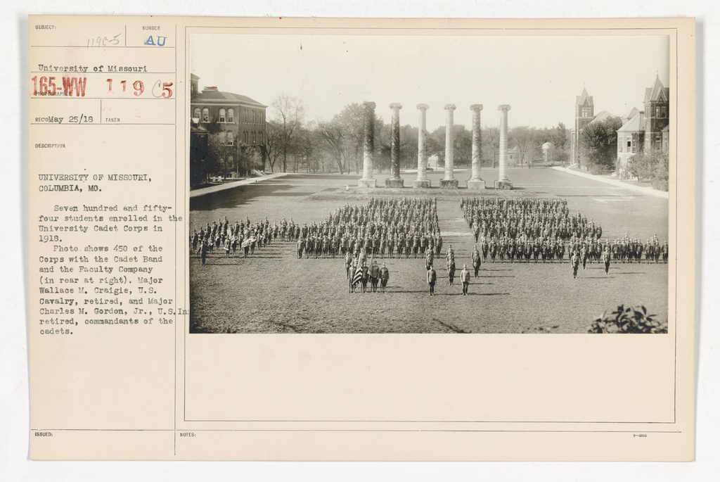 College and Universities - University of Missouri - University of Missouri, Columbia, Missouri. Seven hundred and fifty-four students enrolled in the University Cadet Corps in 1918