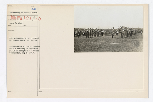 College and Universities - University of Pennsylvania - War Activities at University of Pennsylvania; Philadelphia, Pennsylvania. Pennsylvania Military Academy Cadets drilling on Franklin Field at reception to French Commission, May 9, 1917