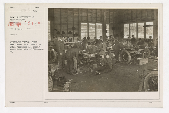 College and Universities - University of Pittsburgh - Assembling Trucks. These were loaned by a local firm which furnishes all repair parts, University of Pittsburgh, Pennsylvania