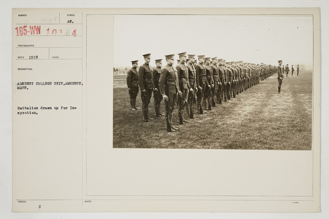 Colleges and Universities - Amherst University, Massachusetts - Students - Amherst College Unit, Amherst, Massachusetts.  Battalion drawn up for inspection