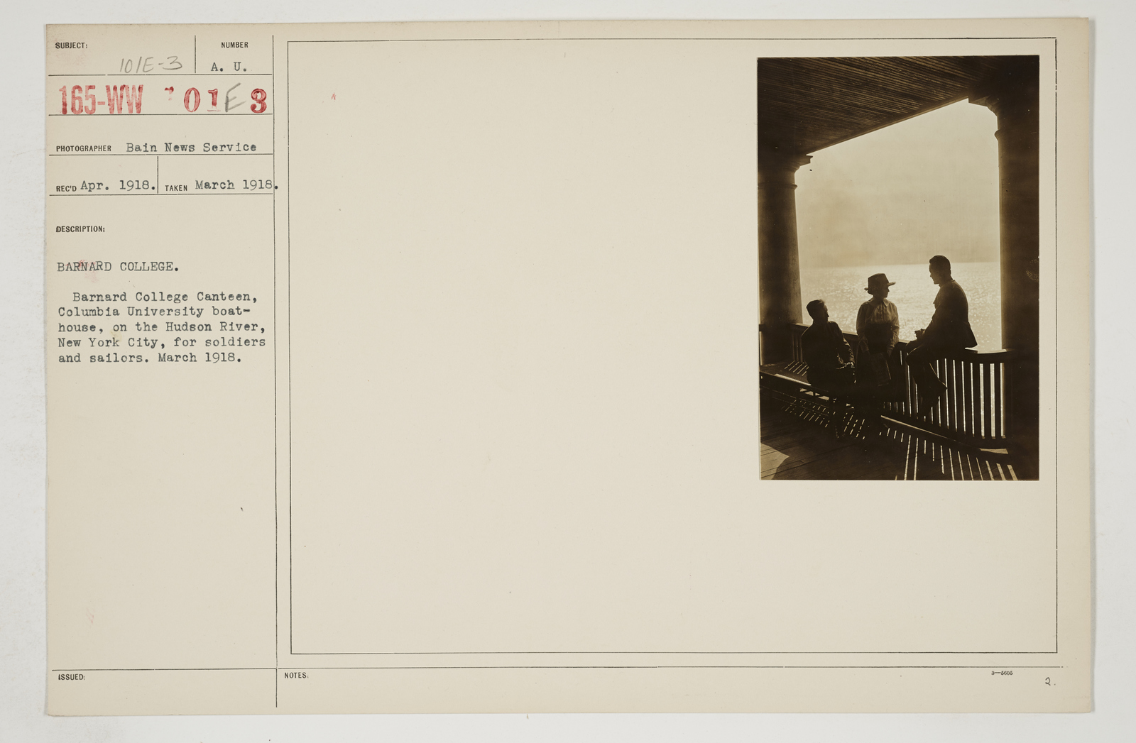 Colleges and Universities - Barnard College - Barnard College.  Barnard College Canteen, Columbia University Boathouse, on the Hudson River, New York City, for soldiers and sailors.  March 1918