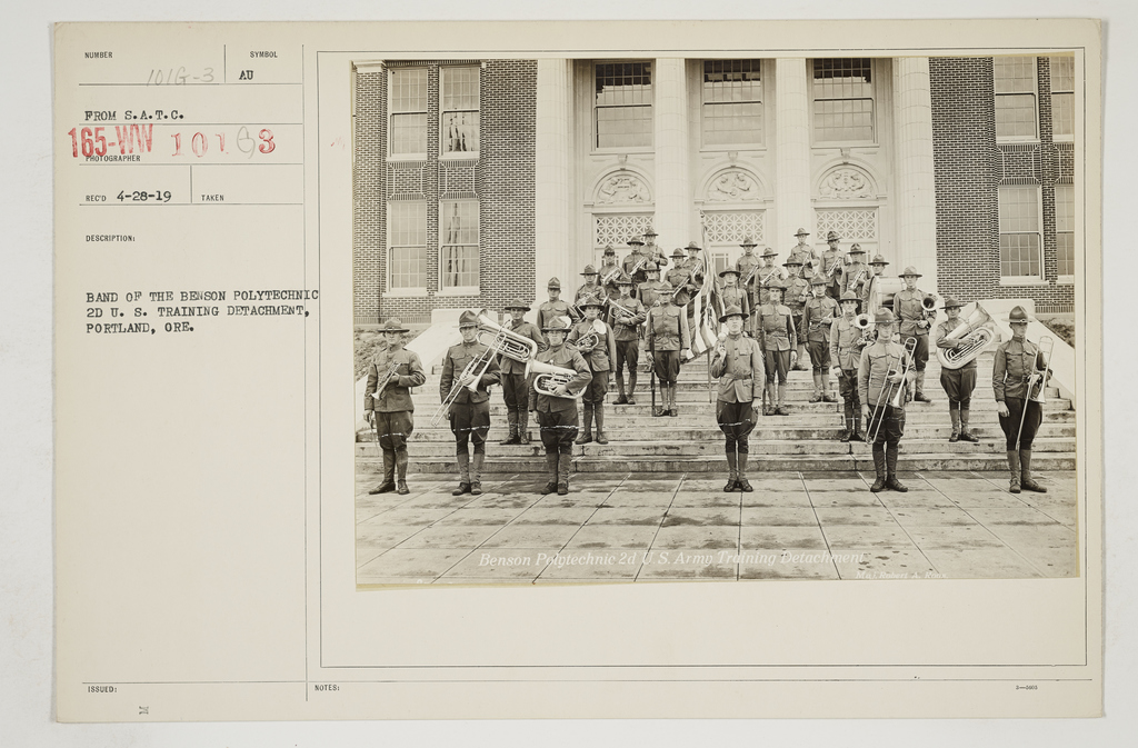 Colleges and Universities - Benson Polytechnic School, Portland, Oregon - Band of the Benson Polytechnic 2nd U.S. training Detachment, Portland, Oregon
