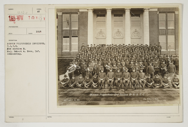 Colleges and Universities - Benson Polytechnic School, Portland, Oregon - Benson Polytechnic Institute.  S.A.T.C.  3rd Section B.  Major Robert A. Roos, Infantry Commanding