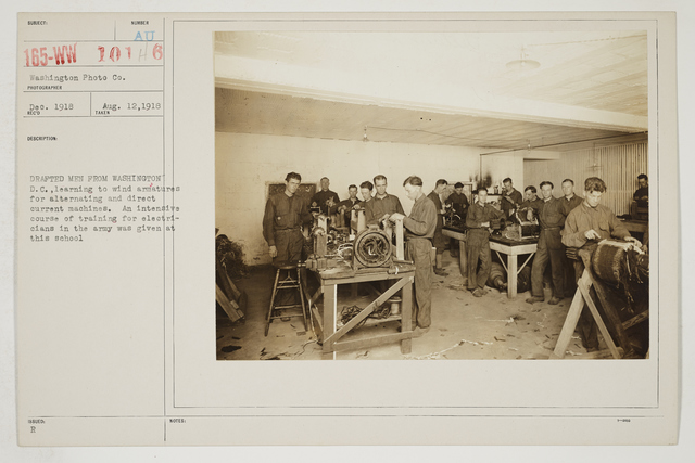 Colleges and Universities - Bliss Electrical School, Takoma Park, Washington D.C. - Drafted men from Washington, D.C. learning to wind armatures for alternating and direct current machines