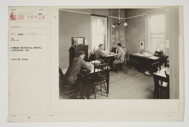 Colleges and Universities - Bowman Technical School - Bowman Technical School, Lancaster, Pennsylvania.  Orderly room