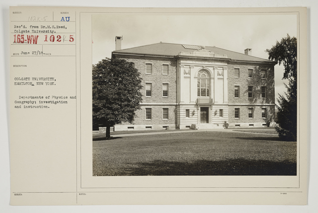 Colleges and Universities - Colgate University - Colgate University, Hamilton, New York.  Departments of Physics and Geography; investigation and instruction