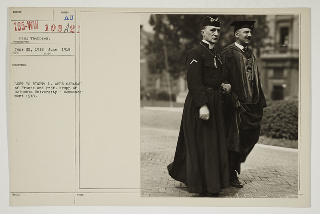 Colleges and Universities - Columbia University - Left to right:  L. Abbe Cabanal of France and Professor Krapp of Columbia University - Commencement 1918