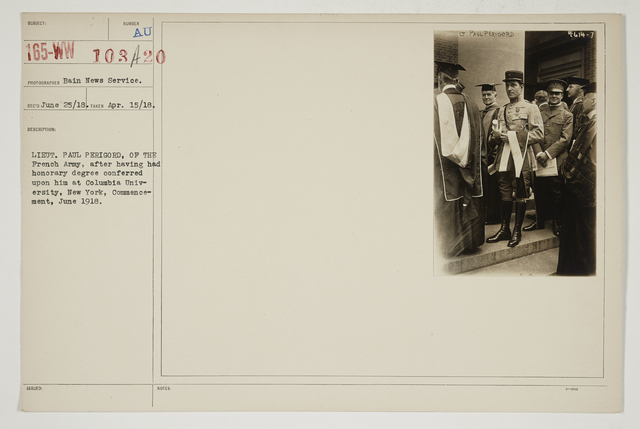 Colleges and Universities - Columbia University - Lieutenant Paul Perigord, of the French Army, after having had honorary degree conferred upon him at Columbia University, New York, Commencement, June 1918
