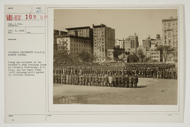 Colleges and Universities - Columbia University - Student Army Training Corps - Columbia University S.A.T.C. starts course