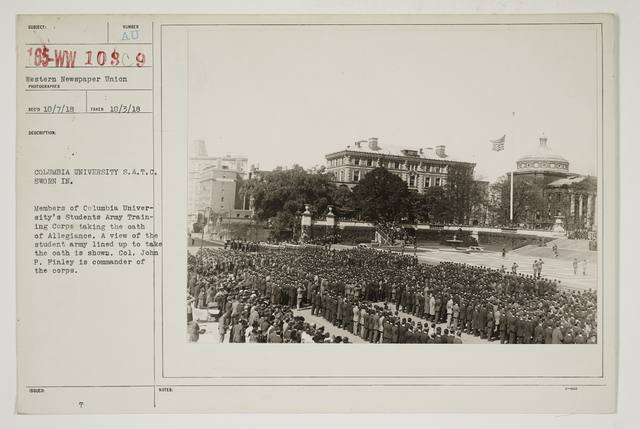 Colleges and Universities - Columbia University - Student Army Training Corps - Columbia University S.A.T.C. sworn in