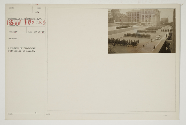 Colleges and Universities - Columbia University - Student Army Training Corps - Students of Columbia University on parade