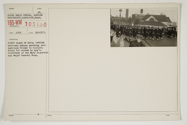 Colleges and Universities - Harvard University - First class of Naval Officers Material School marching over Anderson Bridge to Soldier's Field for review by Assistant. Secretary of the Navy Roosevelt and Major General Wood
