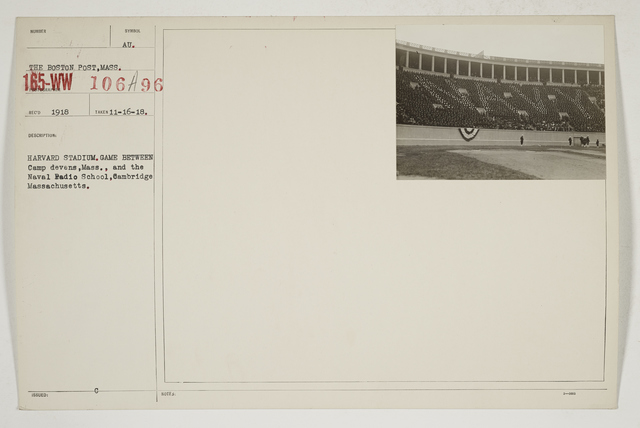 Colleges and Universities - Harvard University - Harvard Stadium.  Game between Camp Devens, Massachusetts, and the Naval Radio School, Cambridge, Massachusetts
