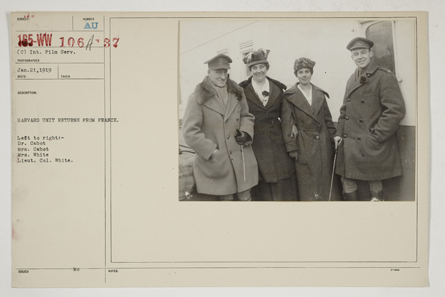 Colleges and Universities - Harvard University - Harvard Unit returns from France.  Left to right:  Dr. Dabot, Mrs. Cabot, Mrs. White, Lieut. Col1l White