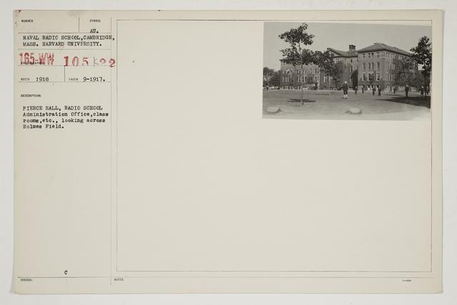 Colleges and Universities - Harvard University - Pierce Hall, Radio School.  Administration Office, classrooms, etc., looking across Holmes Field