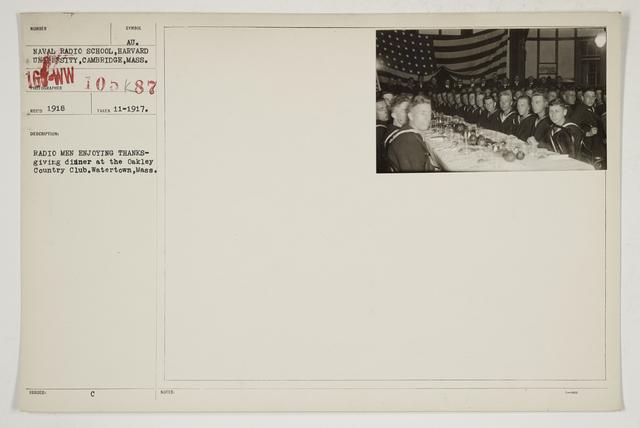 Colleges and Universities - Harvard University - Radio men enjoying Thanksgiving dinner at the Oakley Country Club, Watertown, Massachusetts