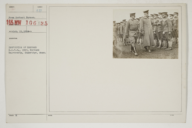 Colleges and Universities - Harvard University - Reserve Officers' Training Corps (ROTC) - Inspection of Harvard R.O.T.C., 1917, Harvard University, Cambridge, Massachusetts