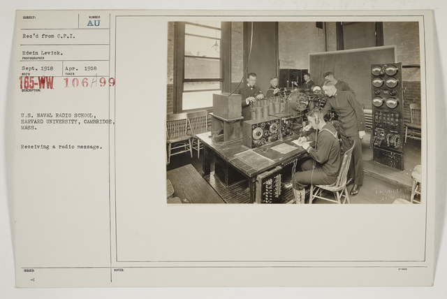 Colleges and Universities - Harvard University - U.S. Naval Radio School, Harvard University, Cambridge, Massachusetts.  Receiving a radio message