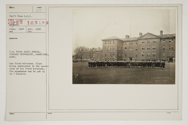 Colleges and Universities - Harvard University - U.S. Naval Radio School, Harvard University, Cambridge, Massachusetts.  The field wireless class being instructed in the operation of the field wireless.  The apparatus can be put up in 7 minutes
