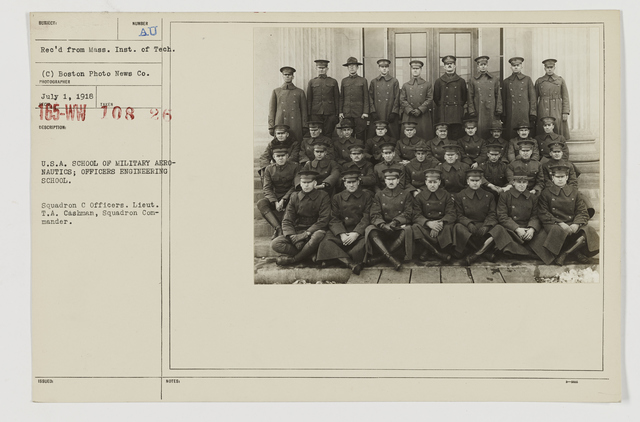 Colleges and Universities - Massachusetts Institute of Technology - U.S.A. School of Military Aeronautics; Officers Engineering School.  Squadron C Officers.  Lieut. T.A. Cashman, Squadron Commander