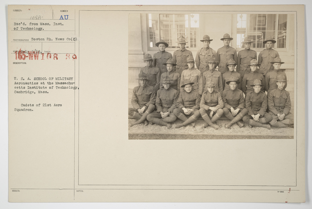 Colleges and Universities - Massachusetts Institute of Technology - U.S.A. School of Military Aeronautics at the Massachusetts Institute of Technology, Cambridge, Massachusetts.  Cadets of 21st Aero Squadron