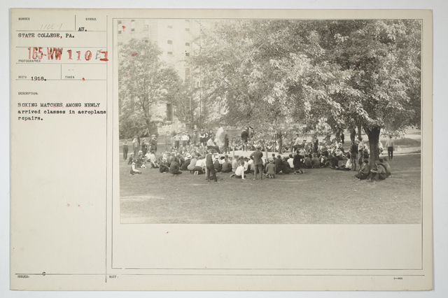 Colleges and Universities - Penn State College - State College, Pennsylvania.  Box_ing matches among newly arrived classes in aeroplane repairs