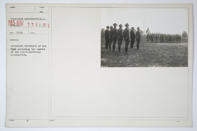 Colleges and Universities - Princeton - Assistant Secretary of War Ryan reviewing the cadets of the U.S.S. Military Aeronautics.  Princeton University, New Jersey