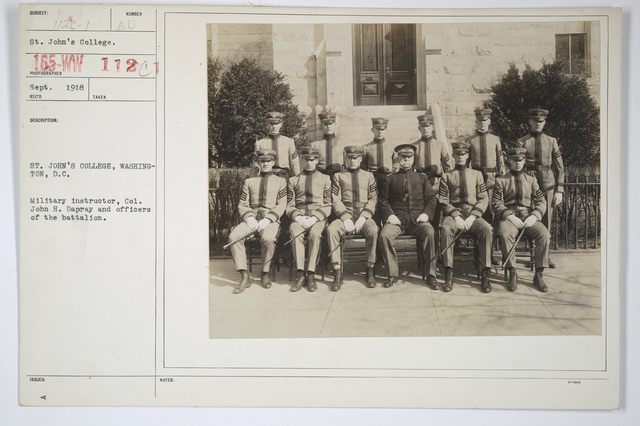 Colleges and Universities - St. John's - St. John's College, Washington, D.C.  Military Instructor, Col1l John H. Dapray and officers of the battalion