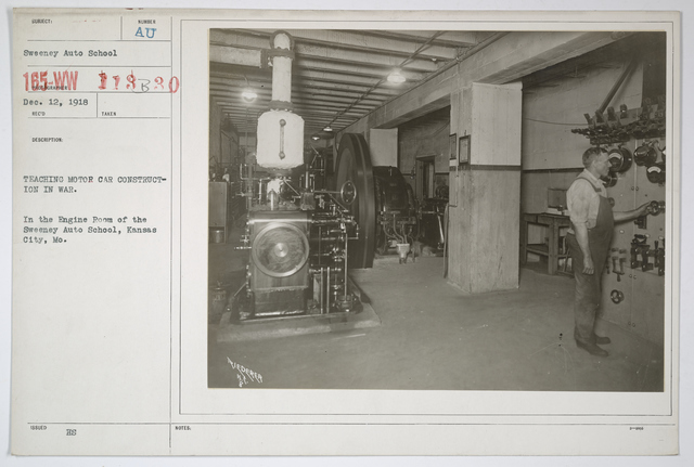 Colleges and Universities - Sweeny Auto School - Teaching Motor Car Construction for War.  In the engine room of the Sweeny Auto School, Kansas City, Missouri
