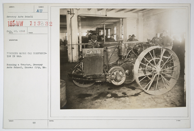 Colleges and Universities - Sweeny Auto School - Teaching Motor Car Construction for War.  Running a tractor, Sweeny Auto School, Kansas City, Missouri