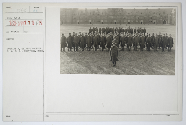 Colleges and Universities - Trinity College - Company A,  Trinity College, Student Army Training Corps., Hartford, Connecticut