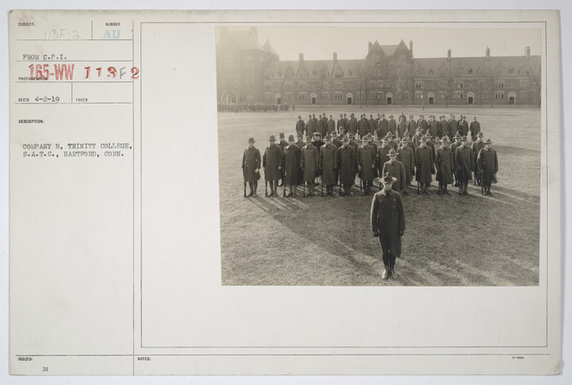 Colleges and Universities - Trinity College - Company, B, Trinity College Student Army Training Corps. Battalion, Hartford, Connecticut
