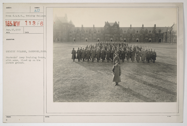 Colleges and Universities - Trinity College - Trinity College, Hartford, Connecticut.  Student Army Training Corps, with arms, lined up on the parade ground